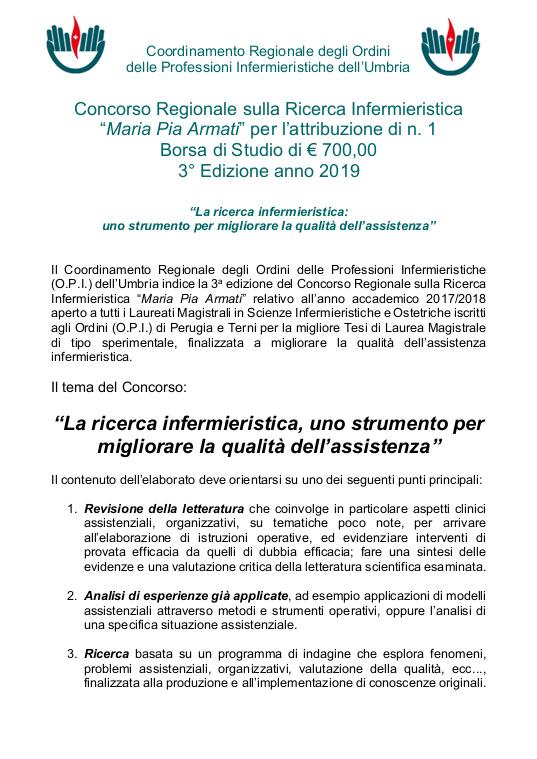 Concorso Regionali sulla ricerca Infermieristica Maria Pia Armati 2019