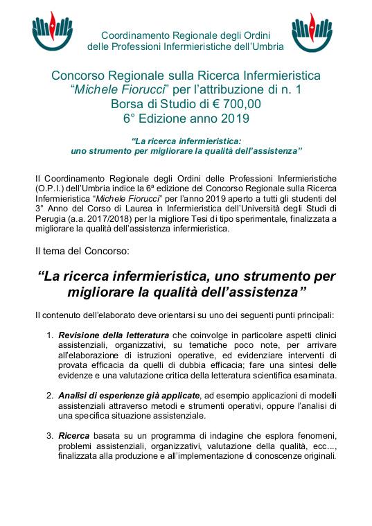 Concorso Regionali sulla ricerca Infermieristica Michele Fiorucci 2019