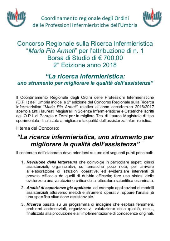 Concorsi Regionali sulla ricerca Infermieristica: Maria Pia Armati, Michele Fiorucci