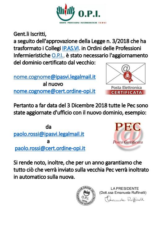 Nuovo indirizzo di Posta Elettronica Certificata