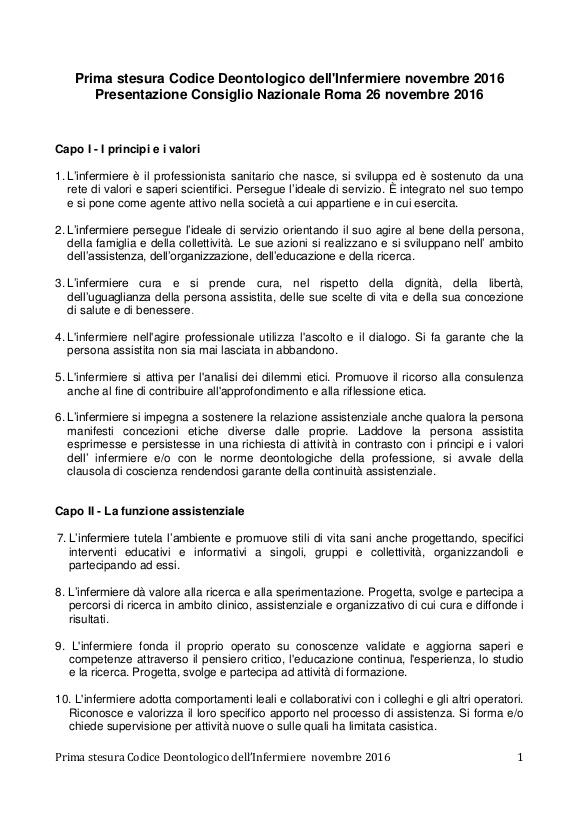 Codice Deontologico dell'Infermiere