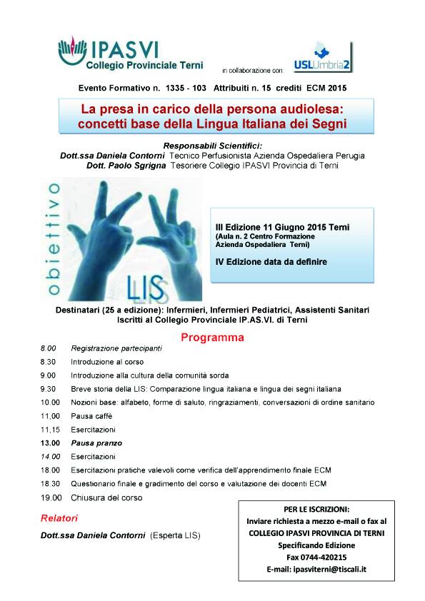 La presa in carico della persona audiolesa: concetti base della Lingua Italiana dei Segni