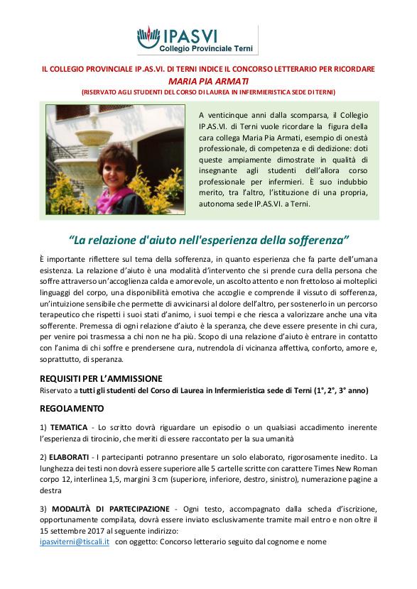 Concorso Letterario per ricordare Maria Pia Armati