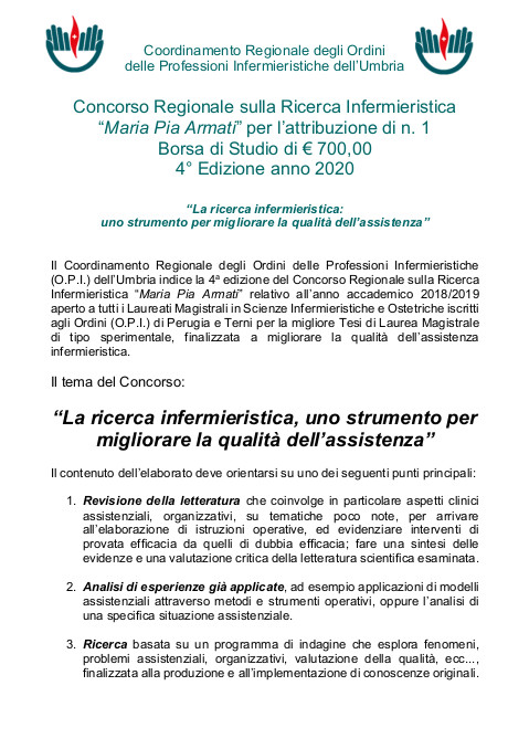 """4 a edizione Concorso Regionale sulla Ricerca Infermieristica """"Maria Pia Armati"""" 2018/2019"""