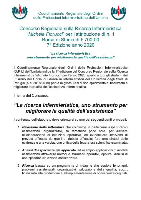 Concorso Regionale sulla Ricerca Infermieristica Michele Fiorucci 2020
