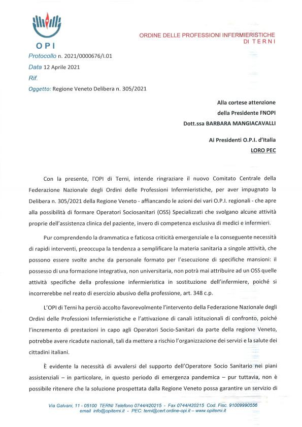 Impugnazione Delibera n. 305-2021 della Regione Veneto